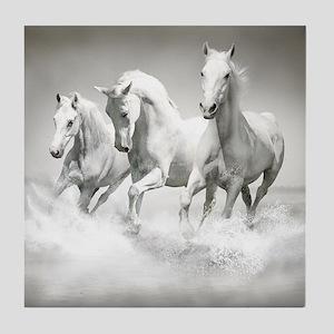 Wild White Horses Tile Coaster