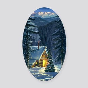 Christmas Snow Landscape Oval Car Magnet
