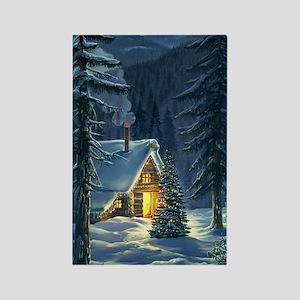 Christmas Snow Landscape Rectangle Magnet