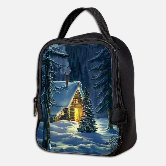 Christmas Snow Landscape Neoprene Lunch Bag