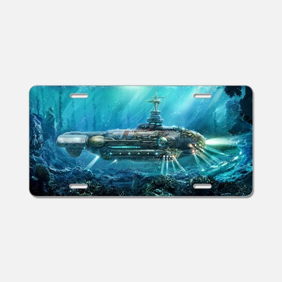 Steampunk Submarine Aluminum License Plate