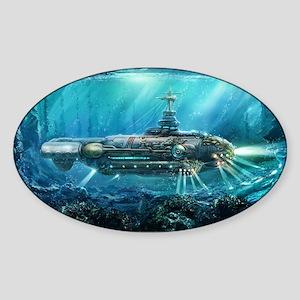 Steampunk Submarine Sticker (Oval)