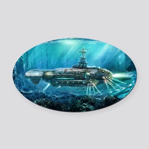 Steampunk Submarine Oval Car Magnet