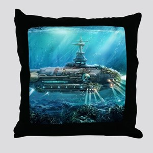 Steampunk Submarine Throw Pillow
