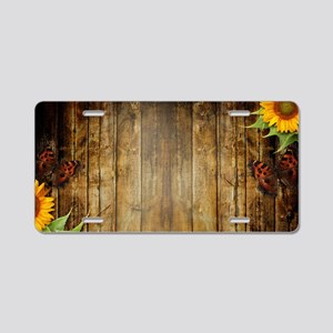 Butterflies and Sunflowers Aluminum License Plate