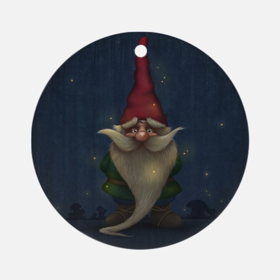 Old Christmas Gnome Round Ornament