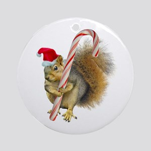 Squirrel Candy Cane Round Ornament
