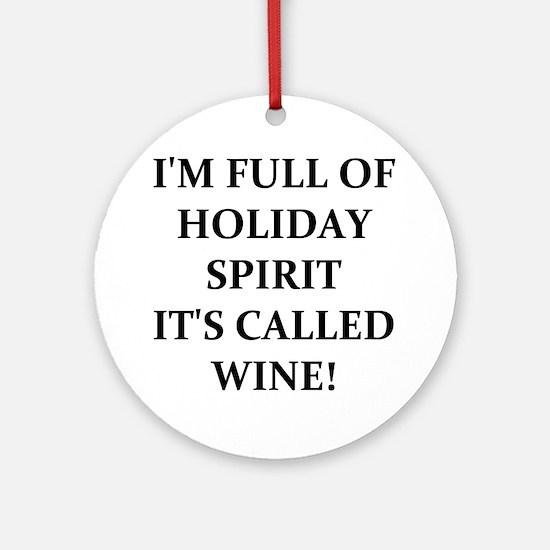 WINE! Round Ornament