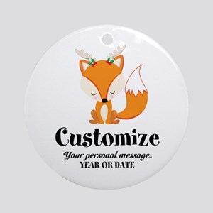 Custom Christmas Fox Round Ornament