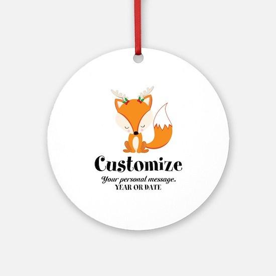 Custom Christmas Fox Round Ornament