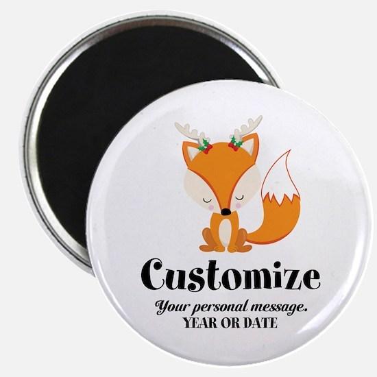 """Custom Christmas Fox 2.25"""" Magnet (10 pack)"""