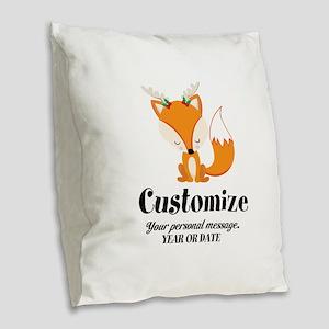 Custom Christmas Fox Burlap Throw Pillow