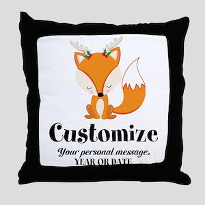 Custom Christmas Fox Throw Pillow