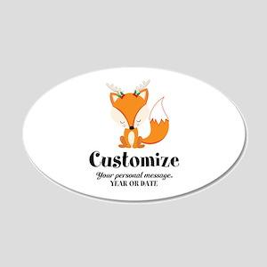 Custom Christmas Fox 20x12 Oval Wall Decal