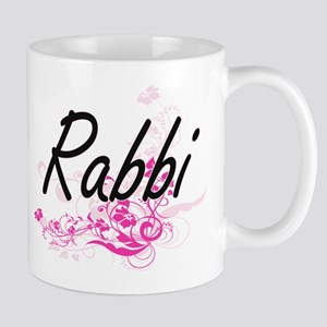 Rabbi Artistic Job Design with Flowers Mugs