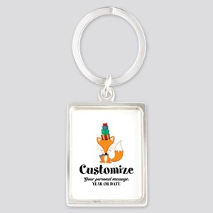 Custom Christmas Fox Portrait Keychain