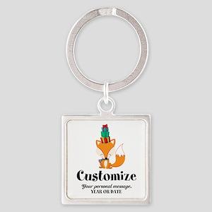 Custom Christmas Fox Square Keychain