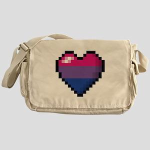 Bisexual Pixel Heart Messenger Bag