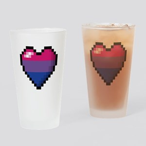 Bisexual Pixel Heart Drinking Glass