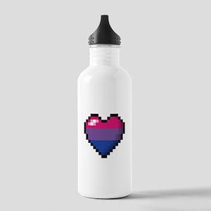 Bisexual Pixel Heart Water Bottle