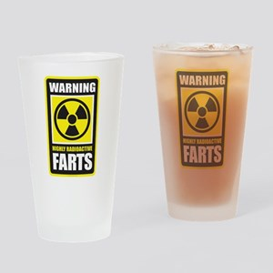 Warning Farts Drinking Glass