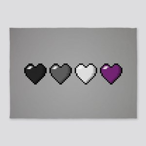 Asexual Pixel Hearts 5'x7'Area Rug