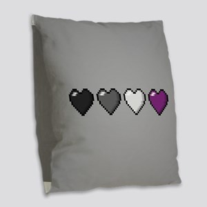Asexual Pixel Hearts Burlap Throw Pillow