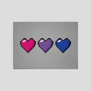 Bisexual Pixel Hearts 5'x7'Area Rug
