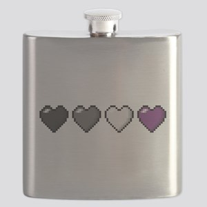 Asexual Pixel Hearts Flask