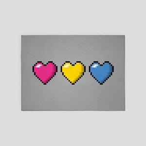 Pansexual Pixel Hearts 5'x7'Area Rug
