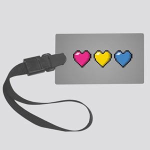 Pansexual Pixel Hearts Large Luggage Tag