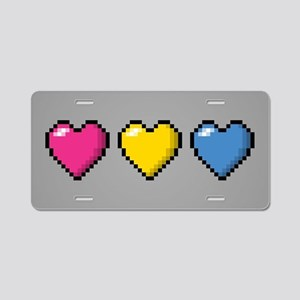 Pansexual Pixel Hearts Aluminum License Plate
