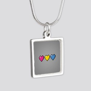 Pansexual Pixel Hearts Silver Square Necklace