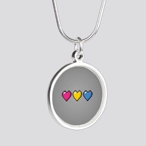 Pansexual Pixel Hearts Silver Round Necklace