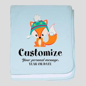 Custom Christmas Fox baby blanket
