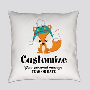 Custom Christmas Fox Everyday Pillow