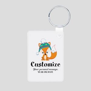 Custom Christmas Fox Aluminum Photo Keychain