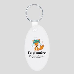 Custom Christmas Fox Aluminum Oval Keychain