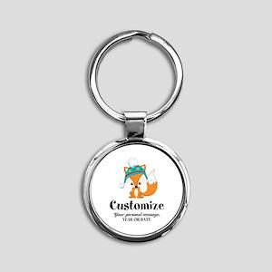 Custom Christmas Fox Round Keychain