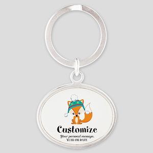 Custom Christmas Fox Oval Keychain