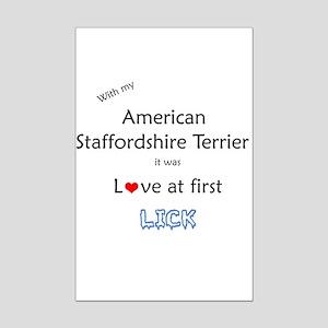 Am Staff Lick Mini Poster Print