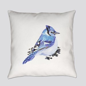 Original Watercolor Blue Jay Everyday Pillow