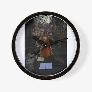 Cello Busker Wall Clock