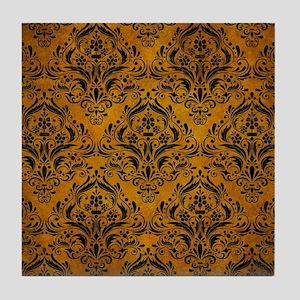 DAMASK1 BLACK MARBLE & YELLOW GRUNGE Tile Coaster