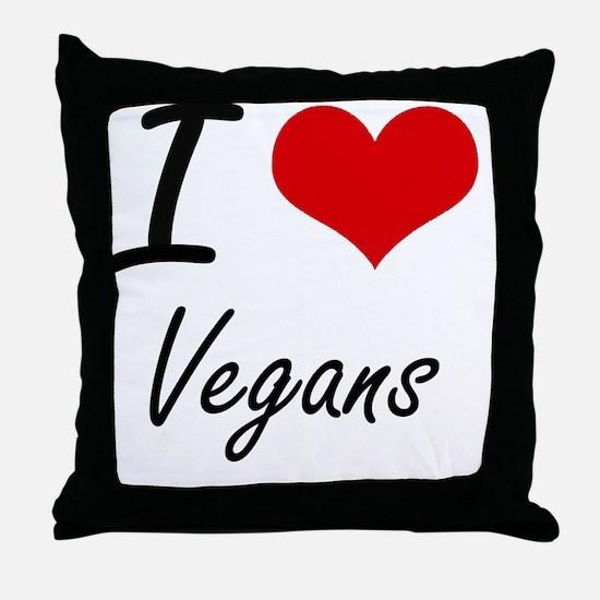 I love Vegans Throw Pillow
