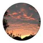 Apricot Sunrise Seaside Round Car Magnet