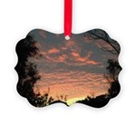 Apricot Sunrise Seaside Picture Ornament