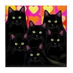 6 BLACK CATS VALENTINE HEARTS Tile Coaster