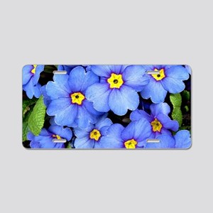 Blue Wildflowers Aluminum License Plate