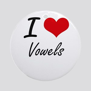 I love Vowels Round Ornament